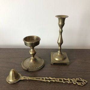 Brass Candlestick Holders and Snuffer